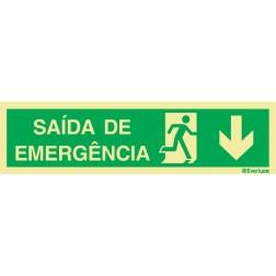SAÍDA DE EMERGÊNCIA COM SETA PARA BAIXO